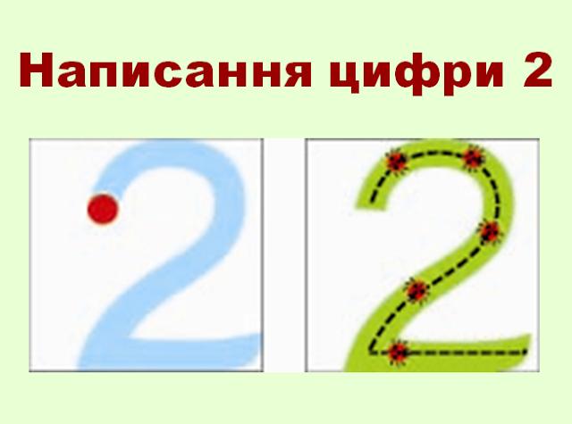 Малюнок написання цифри 2