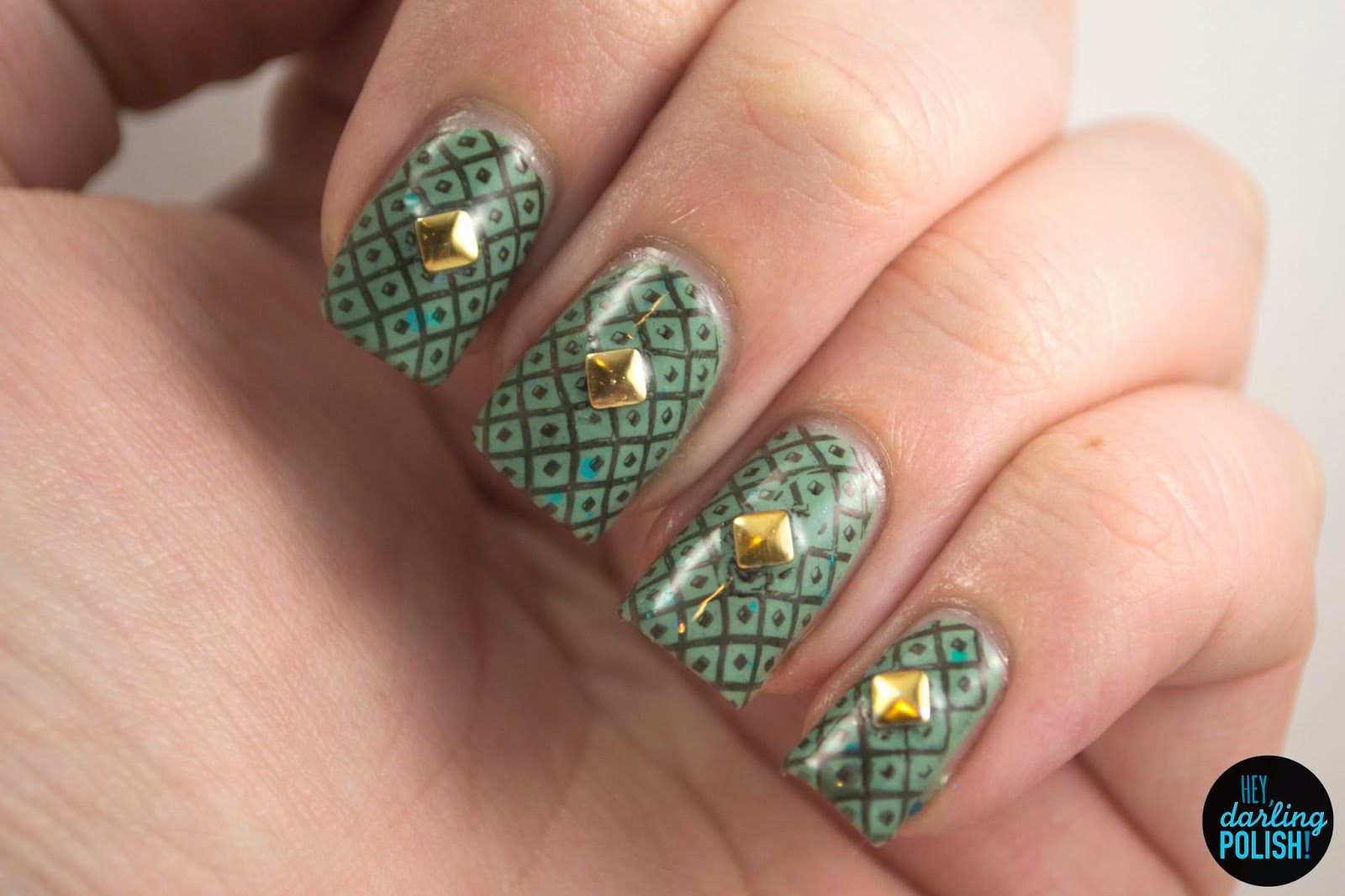 nails, nail art, nail polish, indie, indie nail polish, indie polish, green, stamping, gold, studs, the never ending pile challenge, tgpnpc, hey darling polish