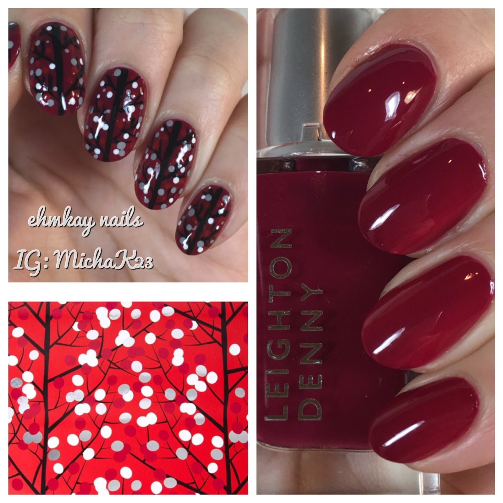 ehmkay nails: Winter Berries Nail Art with Leighton Denny Pillow ...