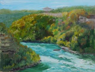 Kathy Schifano, river painting, Autumn Niagara