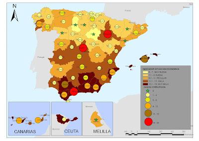 Mapa del Indicador de situación económica y casos de corrupción