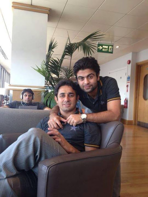 Pakistani Cricket Team in London Gatwick Airport - Saeed Ajmal, Misbah ul Haq And Ahmed Shahzad