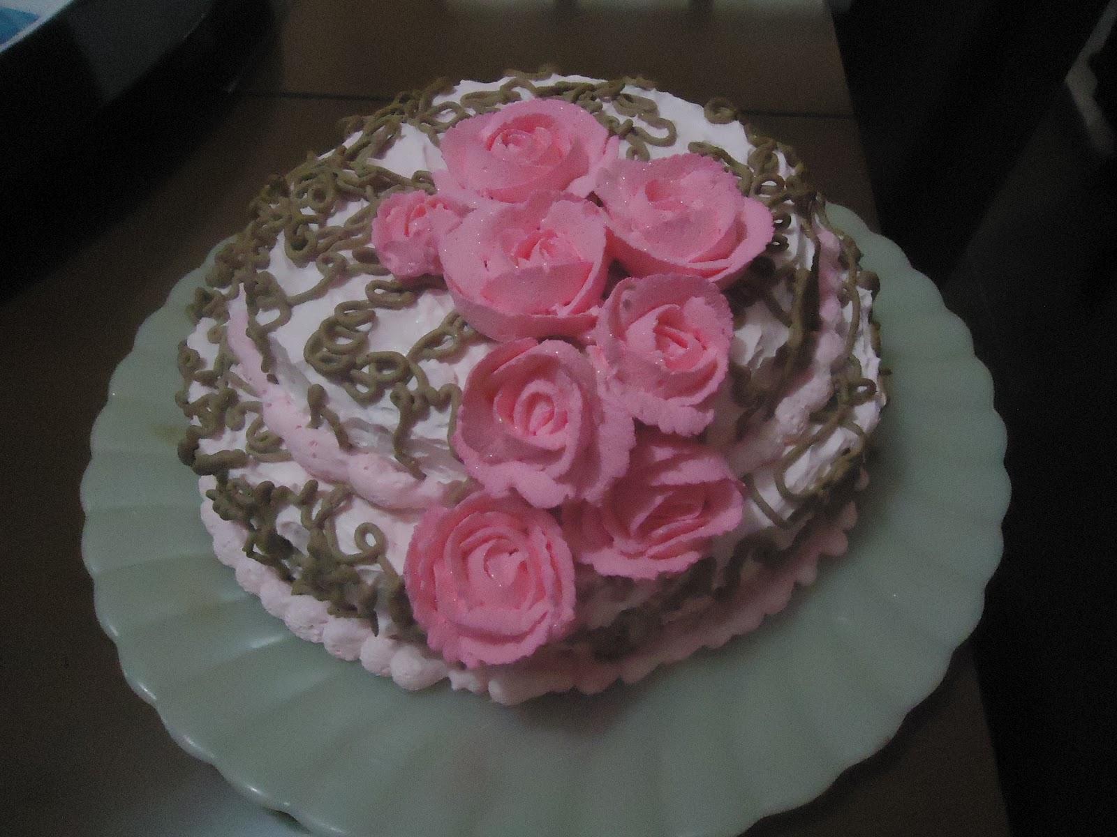 N N Cake Designers Bolo Rosa Com Marrom