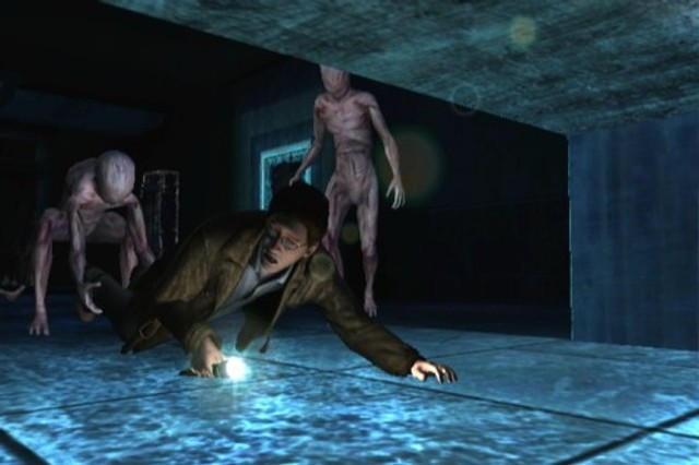 a scene from the video game Silent Hill in which a man is dragged into the darkness by faceless pink monsters.