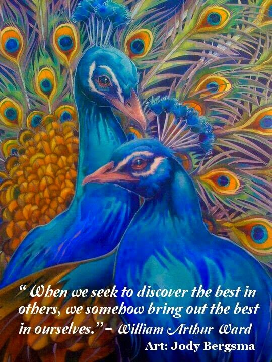 """When we seek to discover the best in others, we somehow bring out the best in ourselves."" ~ William Arthur Ward; Drawing of two peacocks by Jody Bergsma"