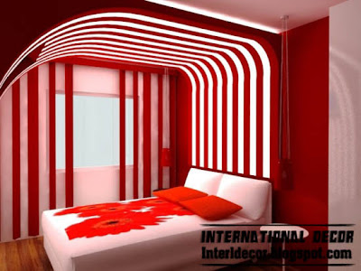 red interior bedroom design, red and white striped bedroom paints