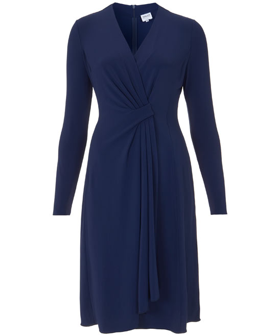 Blue Long Sleeve V-Neck Dress, Armani Collezioni