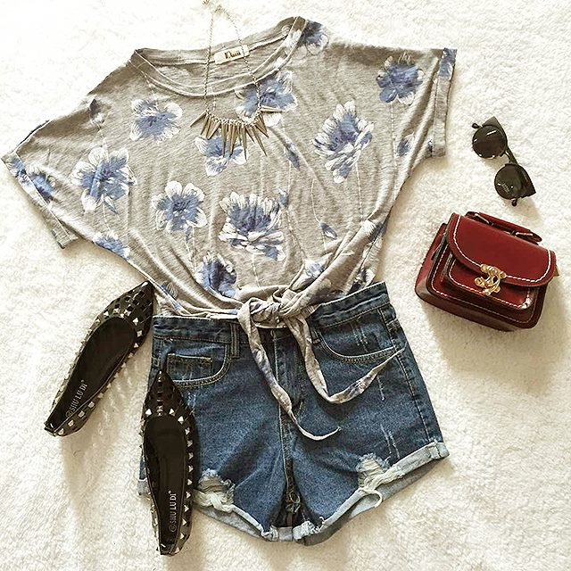 Floral Dress, Jeans Shorts, Flatt Shoes, Hand Bag | Outfits