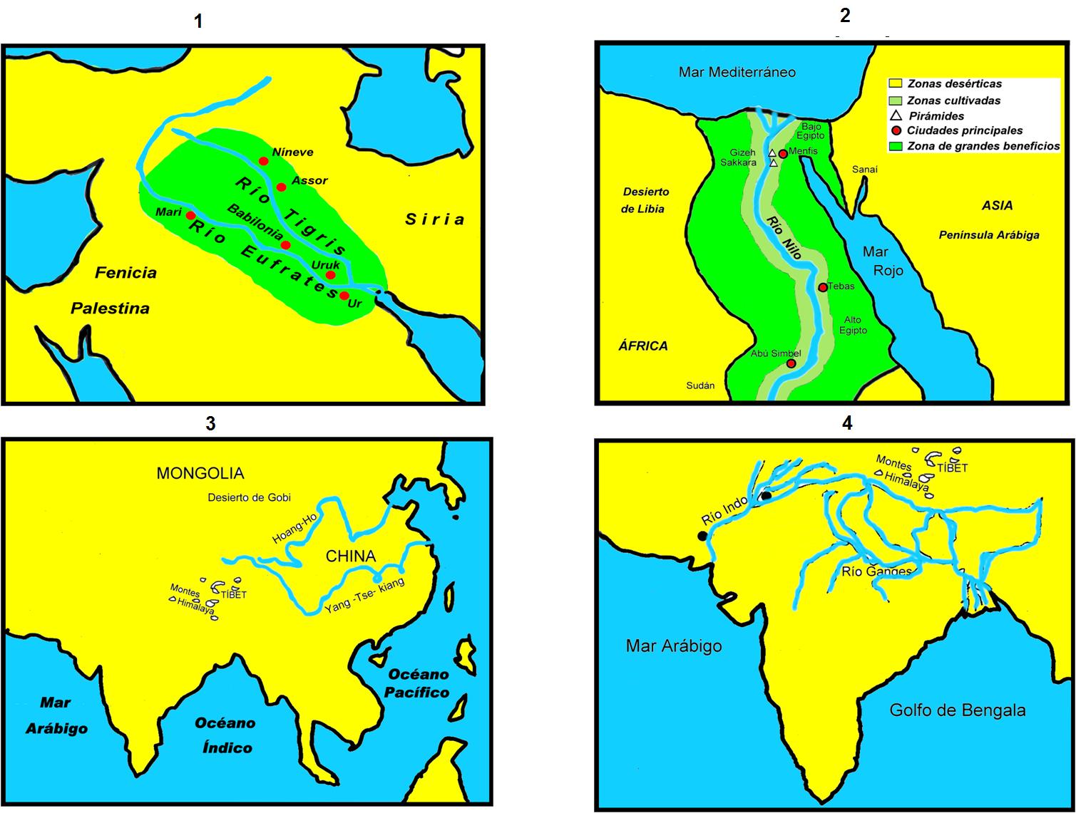 Mapa De Mesopotamia China India Y Egipto