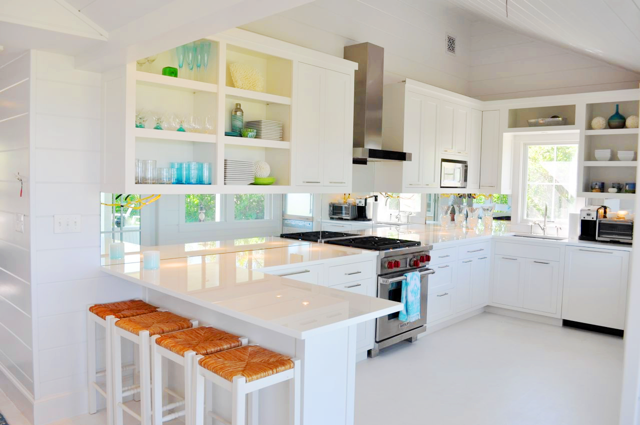 White Kitchens with White Cabinets and Quartz Countertops