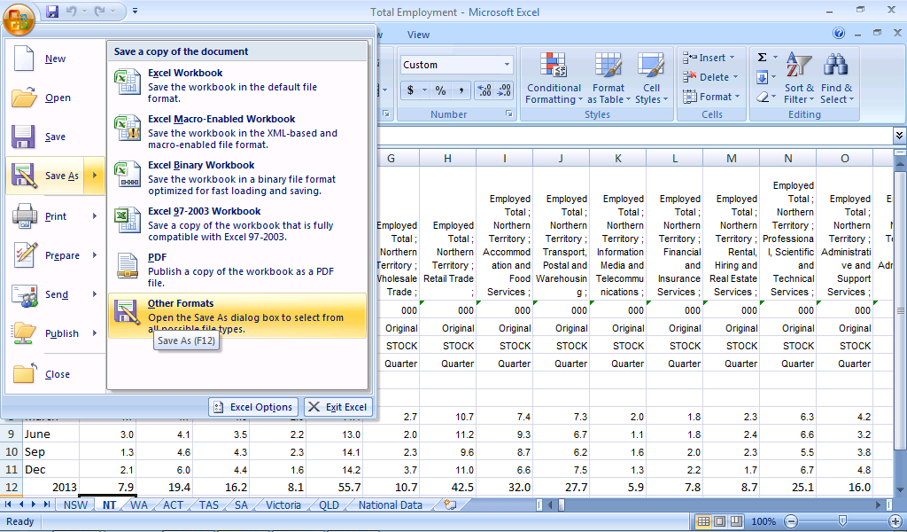 Binary workbook excel