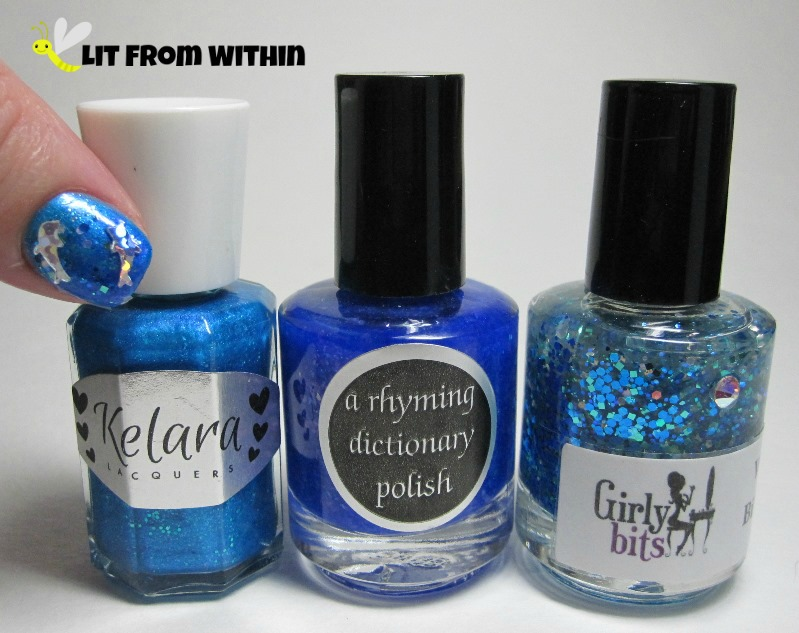 Bottle shot: Kelara Lacquers Seaside, A Rhyming Dictionary Crooked Magician, and Girly Bits Wet Bikini.