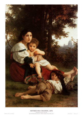 威廉·阿道夫·布格罗(William Adolphe Bouguereau)的《母亲与孩子》
