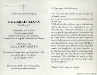 Bidprentje, Dirk Speelmans 1898-1999