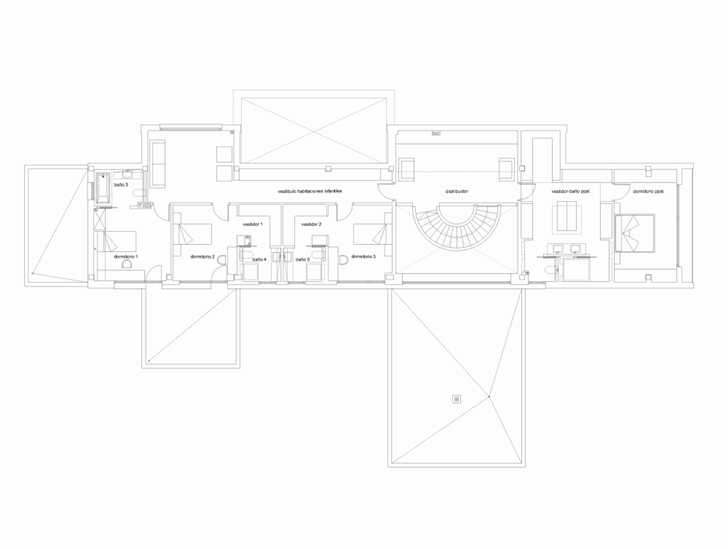 First floor plan of Modern home by Foraster Arquitectos