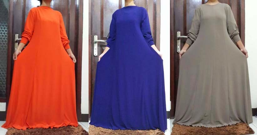Gamis Jersey Umbrella Azalea Dress | azzahidahcollections.com