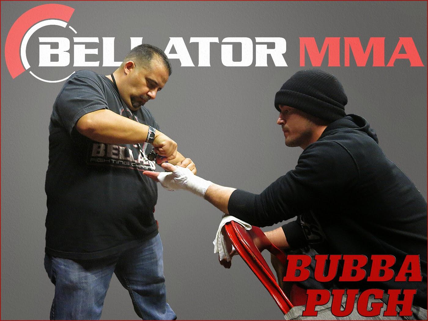 MMA fighter Bubba Pugh backstage getting prepared to do battle