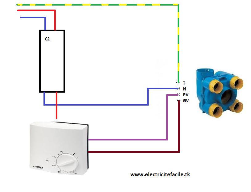 Vmc 2 vitesses hygrostat - Branchement electrique vmc ...