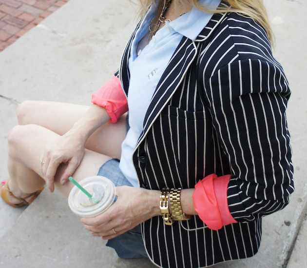 striped blazer and pink
