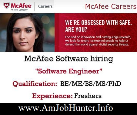 Mcafee hiring freshers for software engineer  - B.E / B.Tech and others