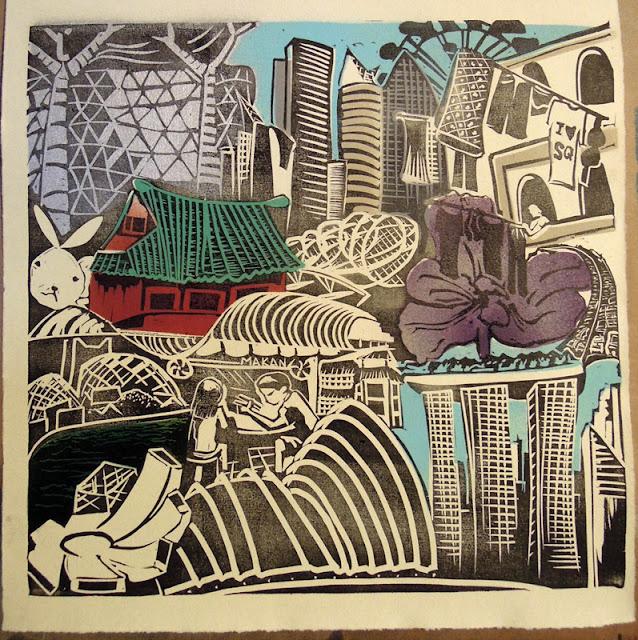 linocut singapore print