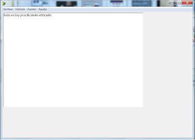 Se ofrece una vista del programa donde se puede escribir en braille en el teclado y verlo en tinta en la pantalla.