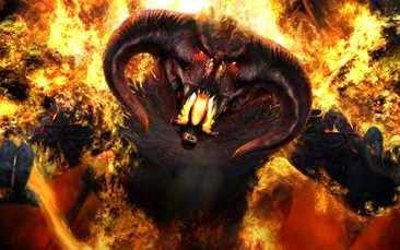 Diablo envuelto en llamas