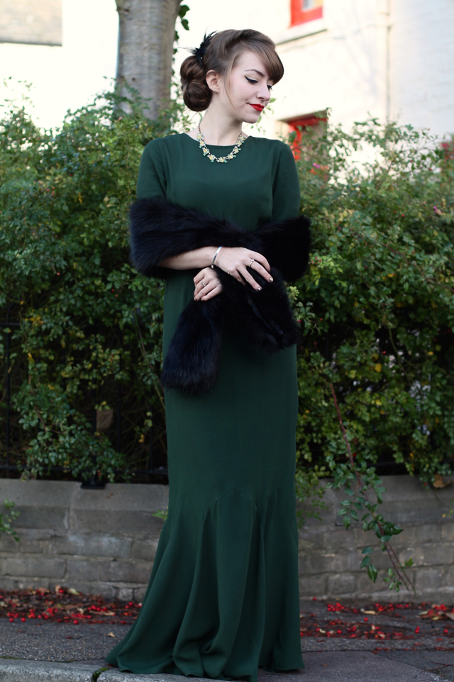 ASOS 30s style green maxi dress with fur stole