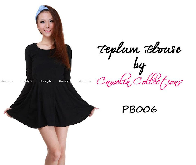 cotton peplum blouse black