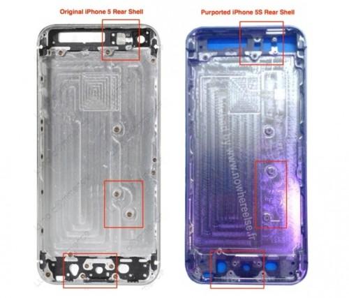 Notati alcuni cambiamenti nella scocca posteriore dell'iPhone 5s che indicano una fotocamera con doppio flash led, e un display più grande