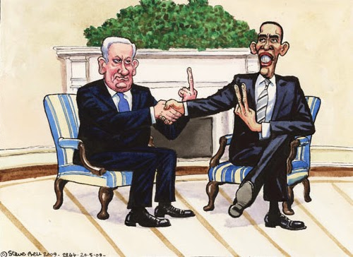 Netanyahu gives Obama the middle finger.