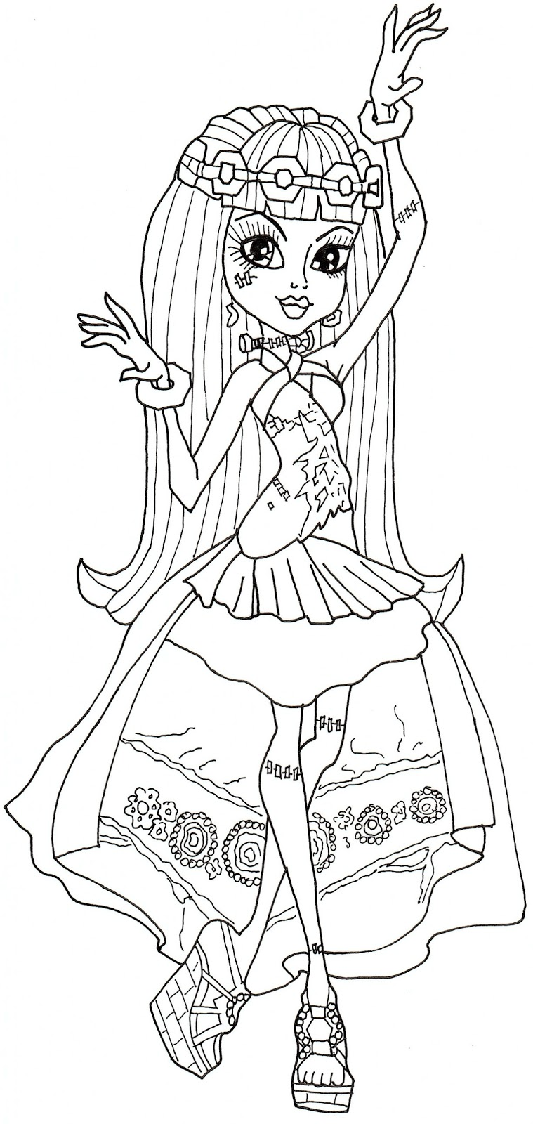 Free Printable Monster High Coloring Pages Frankie Stein 13 Wishes Coloring Page