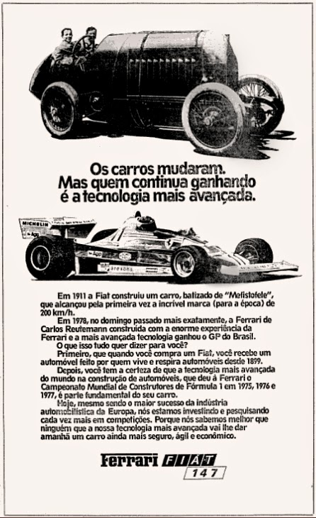 ferrari. fiat. reclame de carros anos 70. brazilian advertising cars in the 70. os anos 70. história da década de 70; Brazil in the 70s; propaganda carros anos 70; Oswaldo Hernandez;