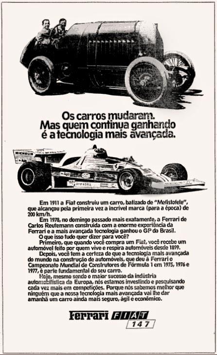 ferrari. fiat. reclame de carros anos 70. brazilian advertising cars in the 70. os anos 70. história da década de 70; Brazil in the 70s; propaganda carros anos 70; Oswaldo Hernandez;