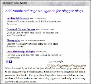 Screenshot to illustrate adsense ads placement below post title or above primary content
