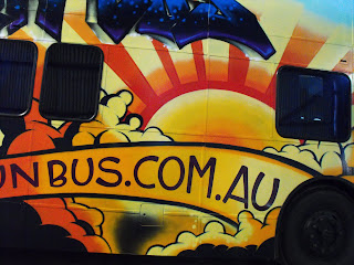 The Fun Bus painted with spray cans and brushes with stu dobell Aedan Howlett Sydney New South WalesAustralia Traditional Signwriters Australia Traditional Signwriters Australia