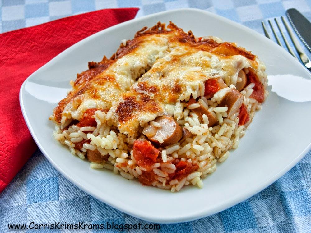 Auflauf, Reis, Tomaten, Würstchen
