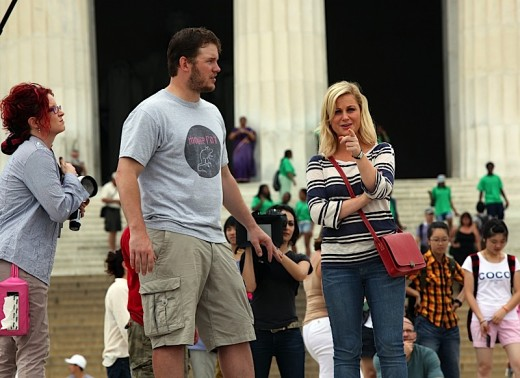 Chris Pratt And Amy Poehler Film At The Lincoln Memorial » Gossip | Chris Pratt | Amy Poehler