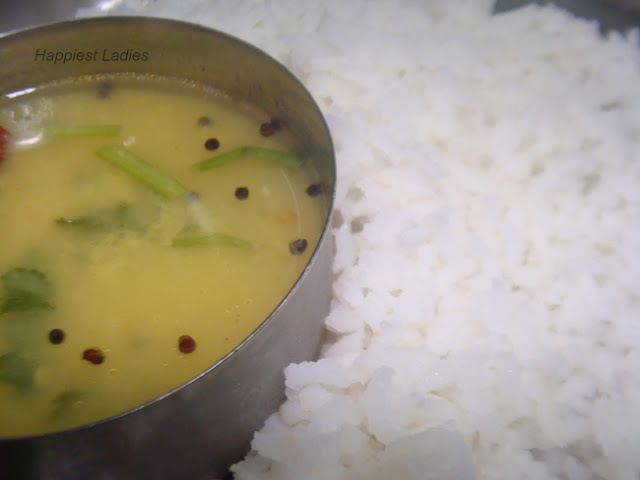 Green Gram Rasam served with rice+mung seeds
