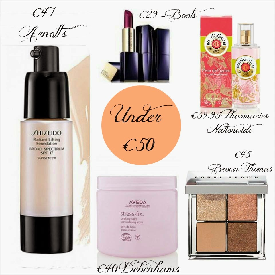 Mothers Day Under €50 - Shiseido Radiant Lifting Foundation - Bobbi Brown Bronze Palette - Roger & Gallet Fleur de Figuier - Aveda Stress Fix - Estee lauder Pure Colour Envy