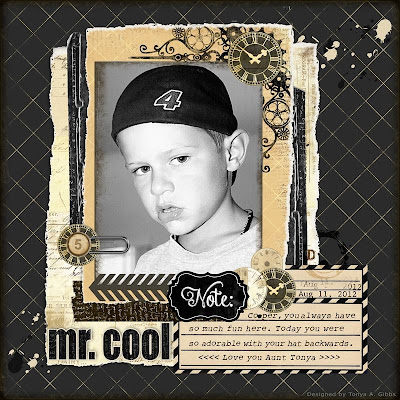 Mr. Cool digital layout created by Tonya A. Gibbs  designer for MarionSmithDesigns.com  #Art #Digital #Digi #Scrapbooking #DigitalScrapbooking #layout #Masculine #TonyaGibbs #Psychomoms #printable #MarionSmithDesigns