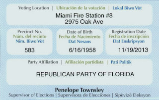 Screwed-up Florida voter registration card