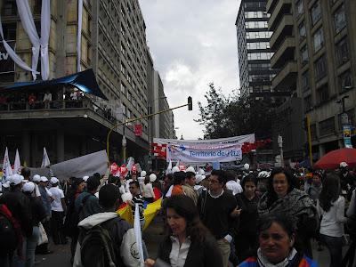 A rally for peace in Bogotá City Centre