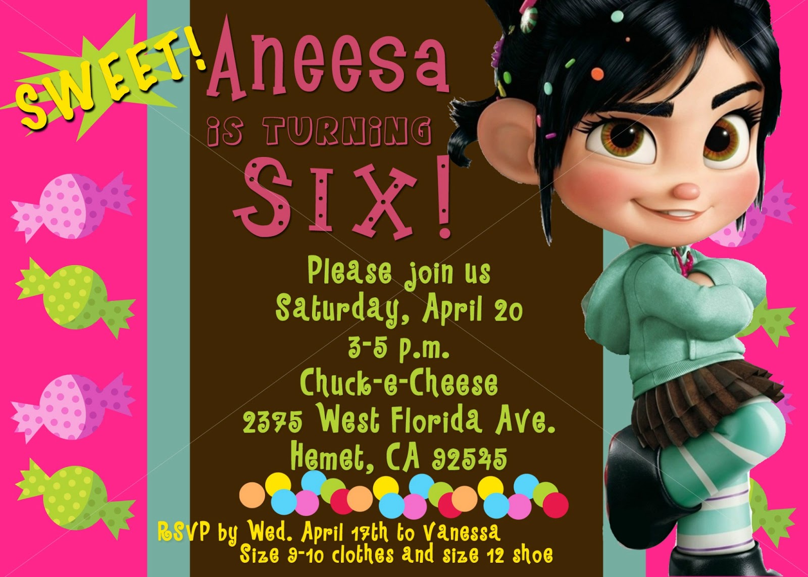the party package that i created for the vanellope von shweetz party