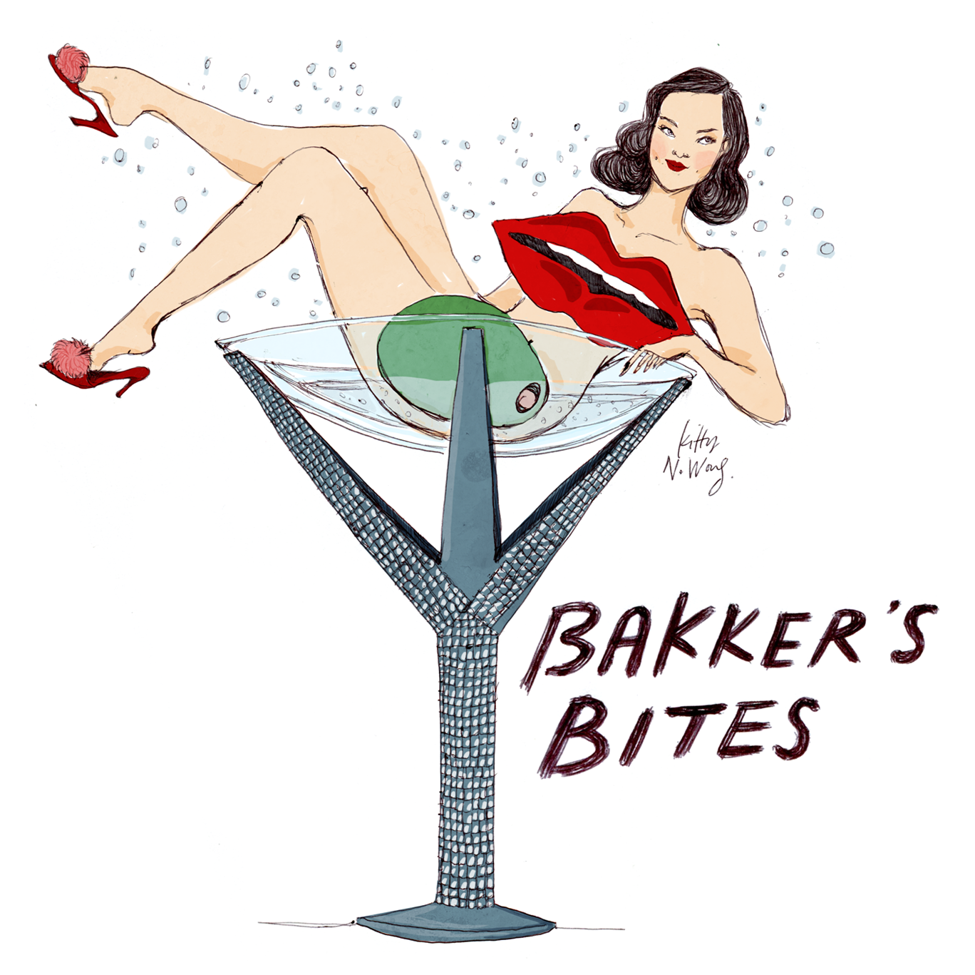 Kitty N. Wong / Bakker's Bites Fashion Illustration Dita Von Teese Martini Glass