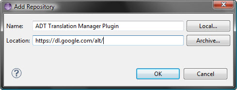 установка ADT Translation Manager Plugin в Eclipse