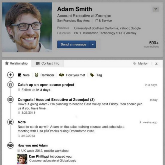 Screenshot of the email integration with Linkedin contacts