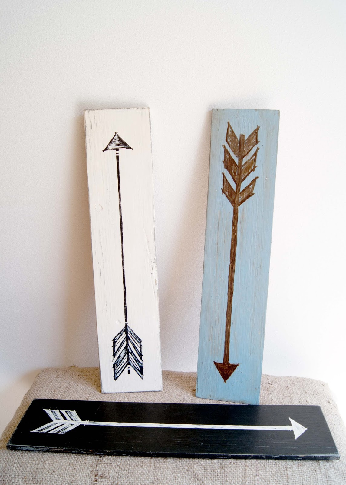 Hand Painted Arrow signs on wood