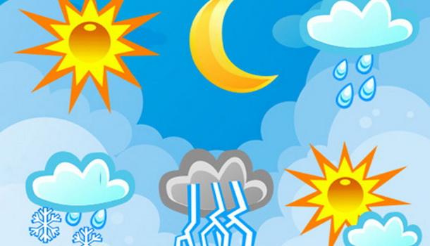 Slika različitih prilka na nebu, od sunca, kišnih oblaka, oblaka sa snegom do sunca ponovo