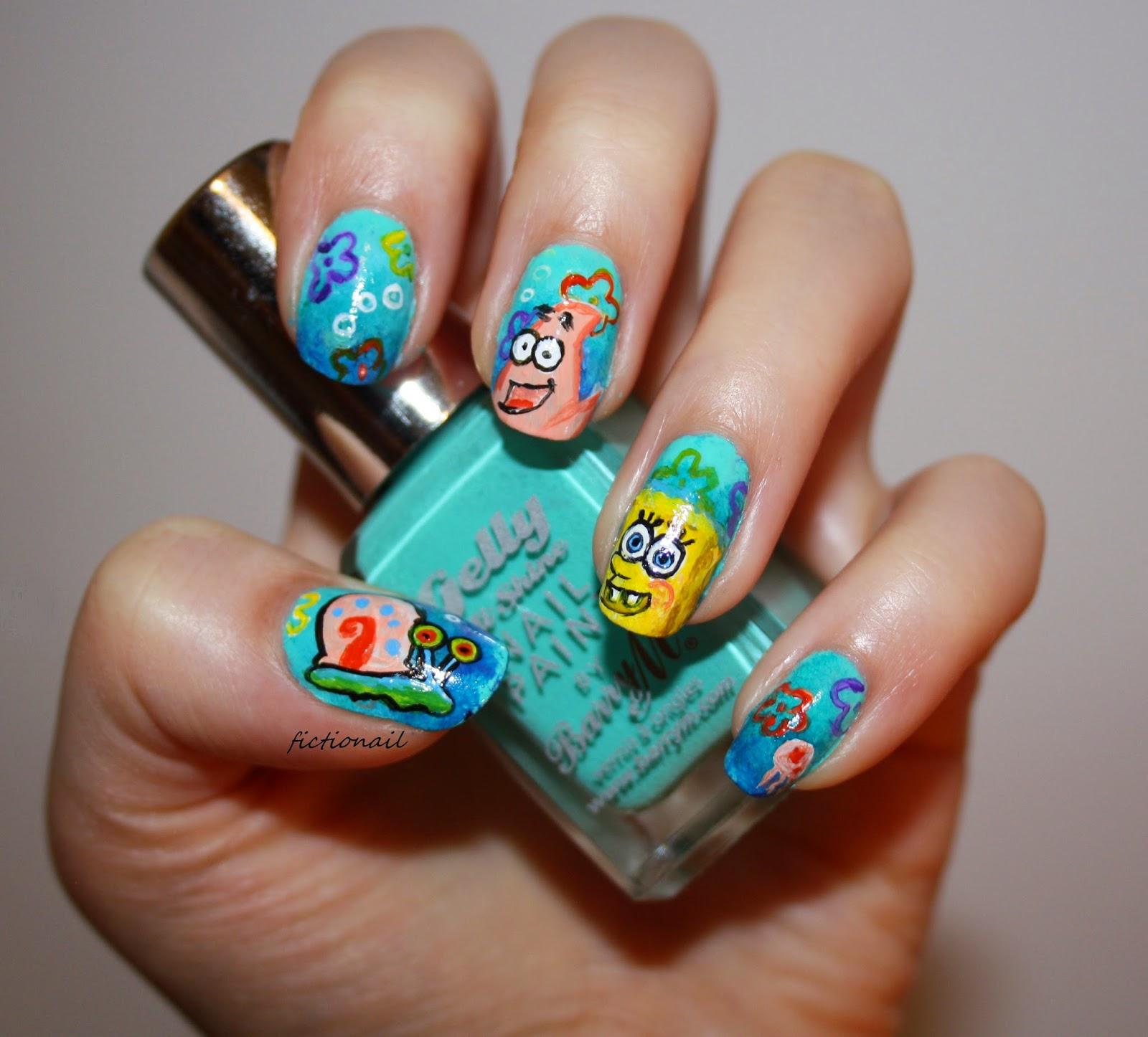 Q Riouser Q Riouser Nail Art: Spongebob Nails